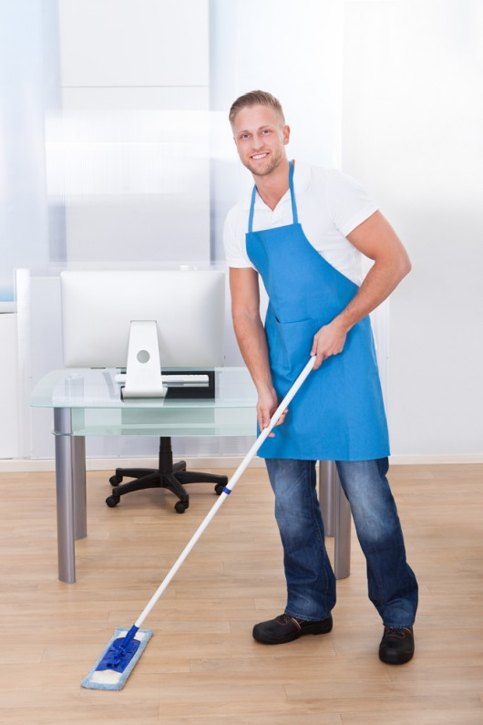 cleaning the floor in an office building
